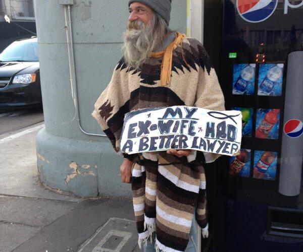 Funny homeless guy sign