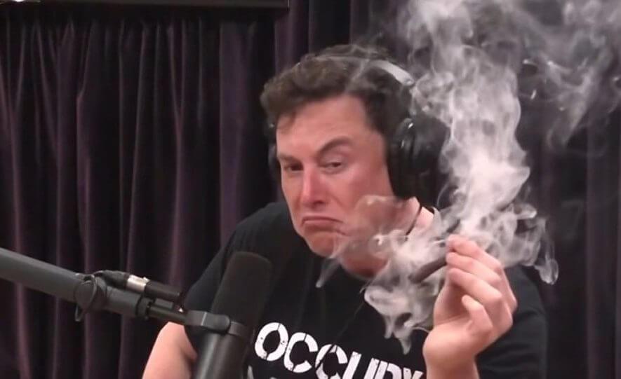 Elon Musk smoking a blunt
