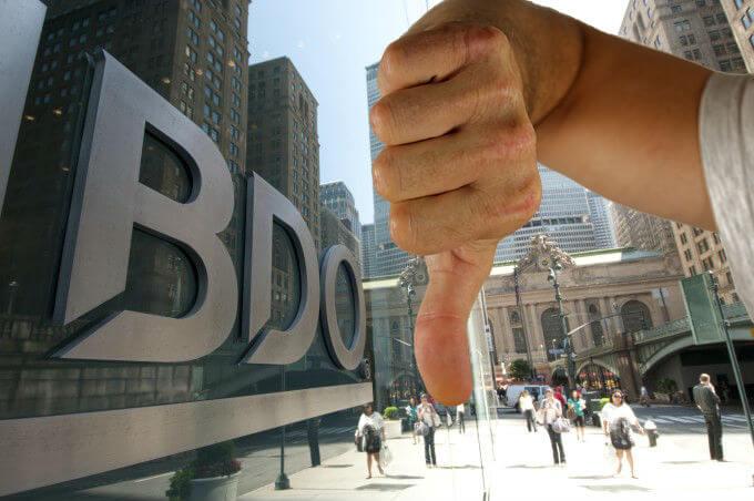 Thumbs down BDO LLP
