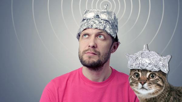 Tinfoil hat guy with tinfoil cat