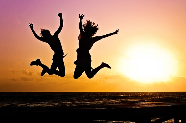 Youth jumping in excitement