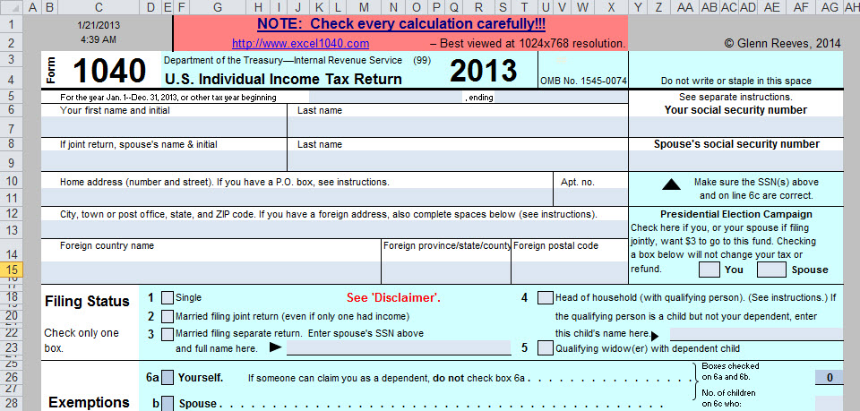 It's Form 1040, In Excel—Need I Say More? - Going Concern