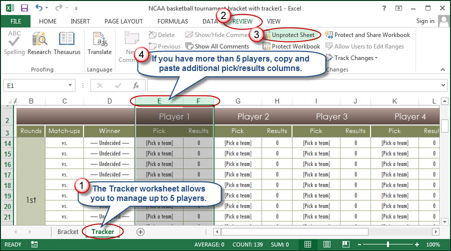 New Years Worksheets Excel How To Use Excel To Manage March Madness  Going Concern Archetype Worksheet Pdf with Distributive Property Worksheet 7th Grade If Such A Scenario Arises Simply Unprotect The Tracker Worksheet And Then  Copy And Paste Additional Pickresult Columns As Needed Formation Of The Solar System Worksheet Word